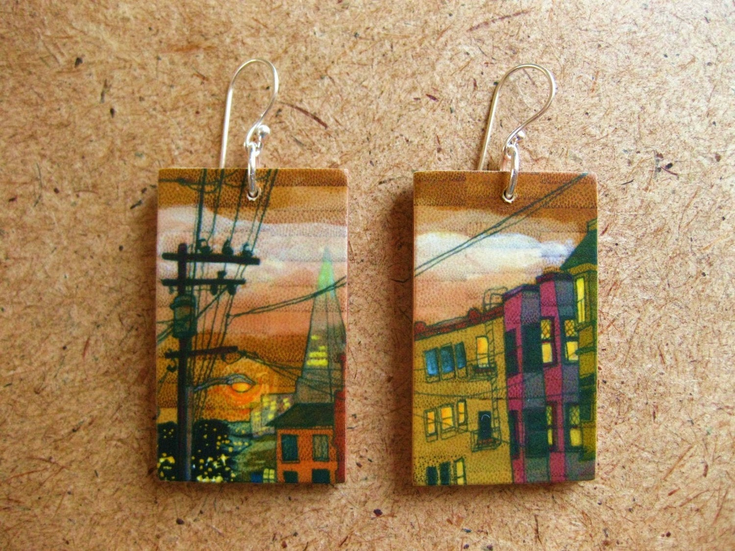 Russian Hill, 1x1.75 Paper and Wood Earrings