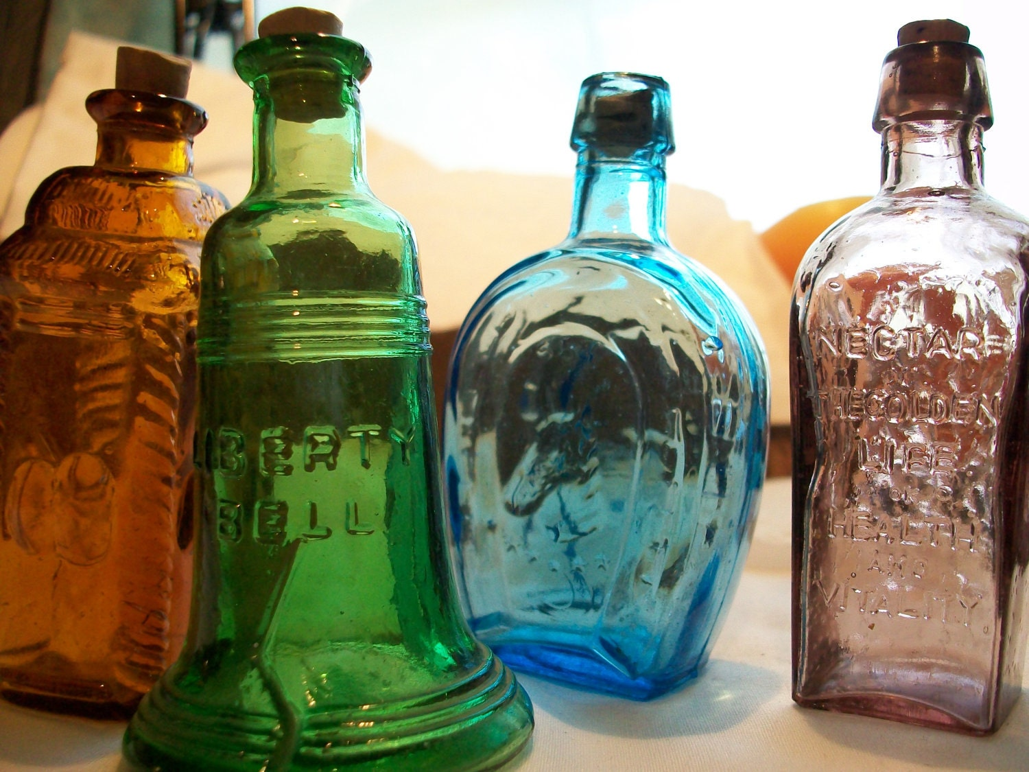 Darling Coloful Mini Bottles for Home Decor or Other Decorative Purposes  Vintage Bottles  Old Glass