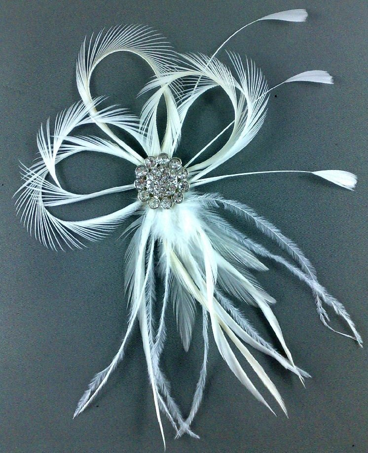 Fleur De Lis Style Bridal Hair Feather Fascinator LOVINA - CUSTOM