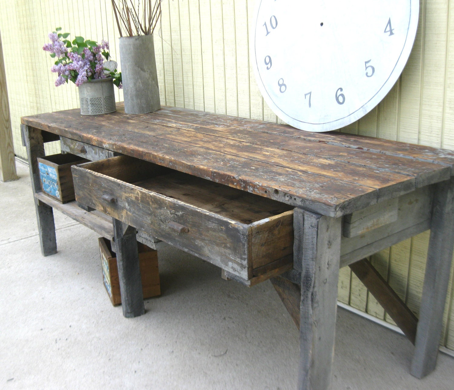 Reserved For Mark Vintage Primitive Workbench Or By