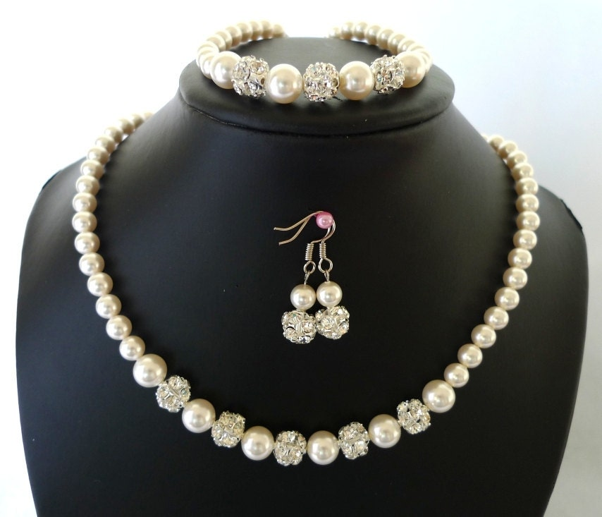 Bridal Pearl Jewelry Set - Bridesmaids Necklace, Bracelet, Earrings - Swarovski Pearls - Rhinestone Beads - Florence