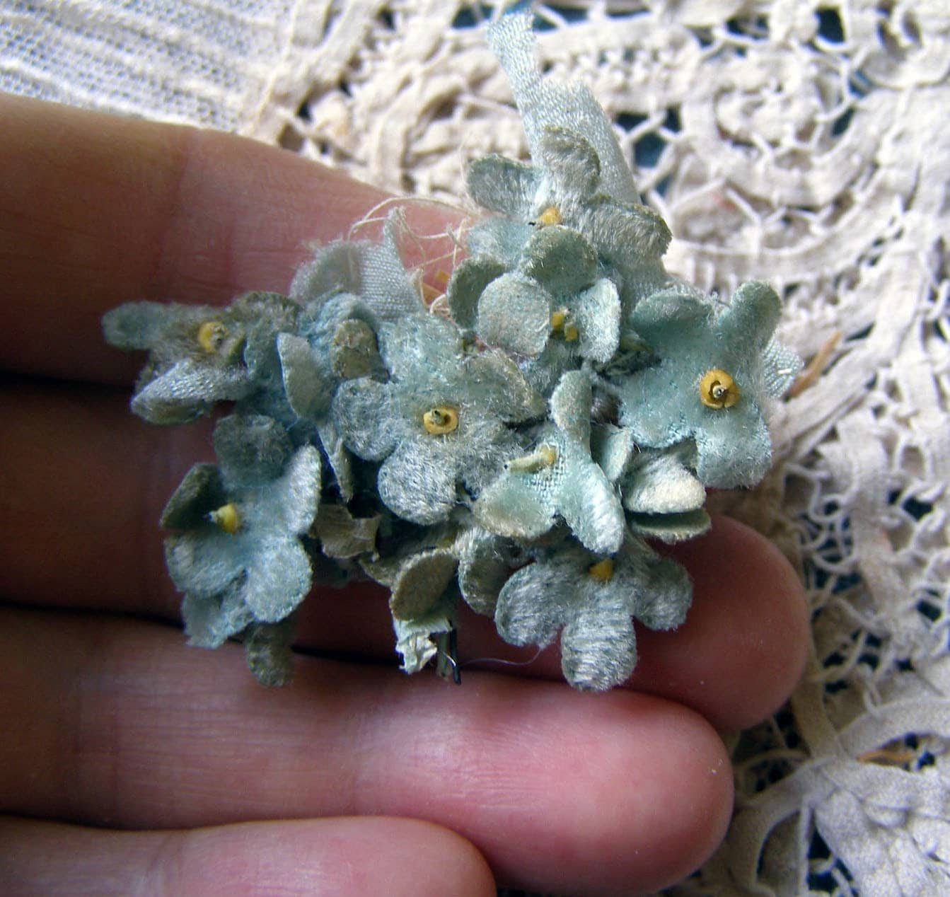 ANTIQUE 19thC Tiny FRENCH MILLINERY Velvet Flower Cluster Adorable Diminutive  Doll Bonnet Hat - AntiqueDelights