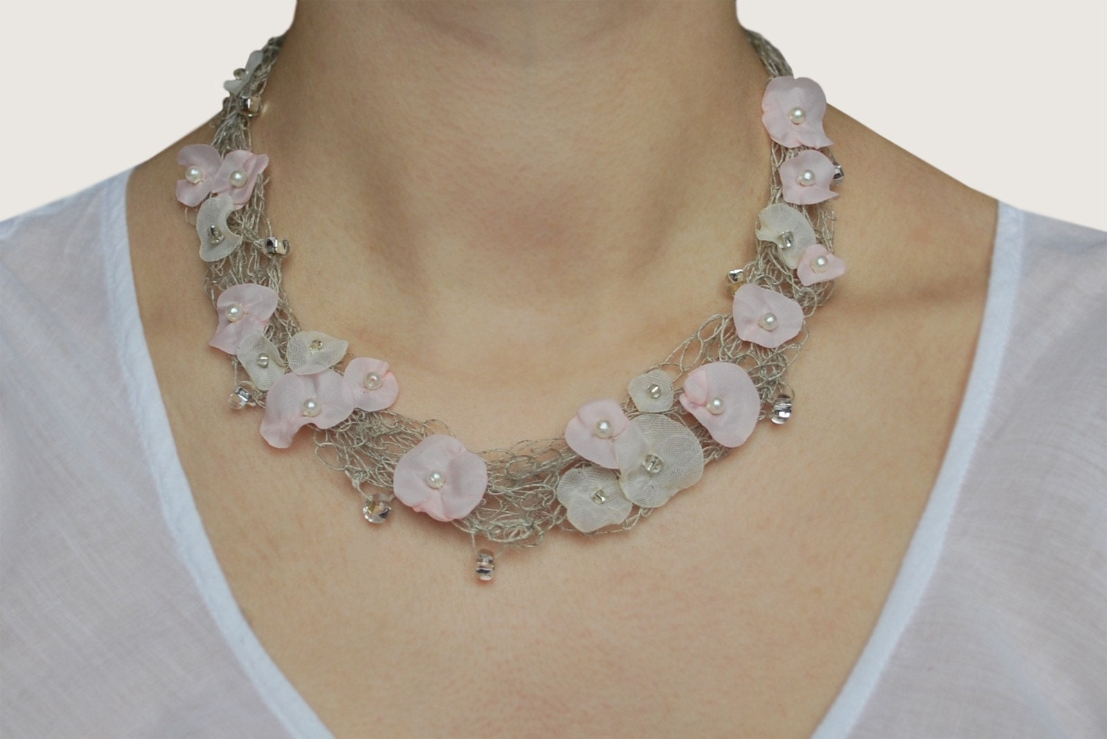 Delicate Crocheted Linen Necklace Pale Pink and Champagne flowers