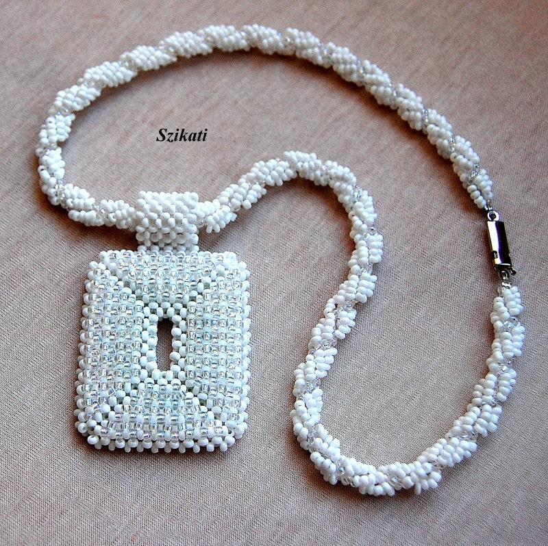 Beaded white necklace, elegant unique shape, OOAK