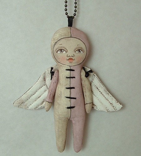 Lulu Angel Necklace--- Contemporary Folk Art Doll- MADE TO ORDER