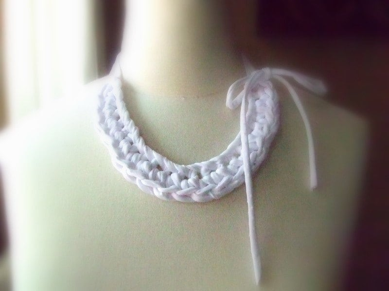 Whiteness necklace - crocheted cotton strips necklace in white color