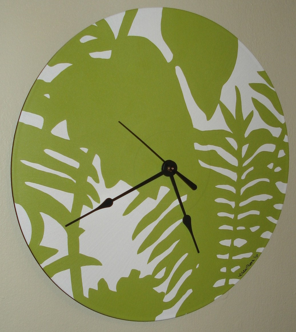 Handpainted Recycled Record Clock