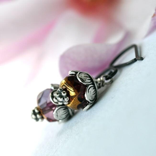 Earrings - Pink czech glass beads - sterling silver