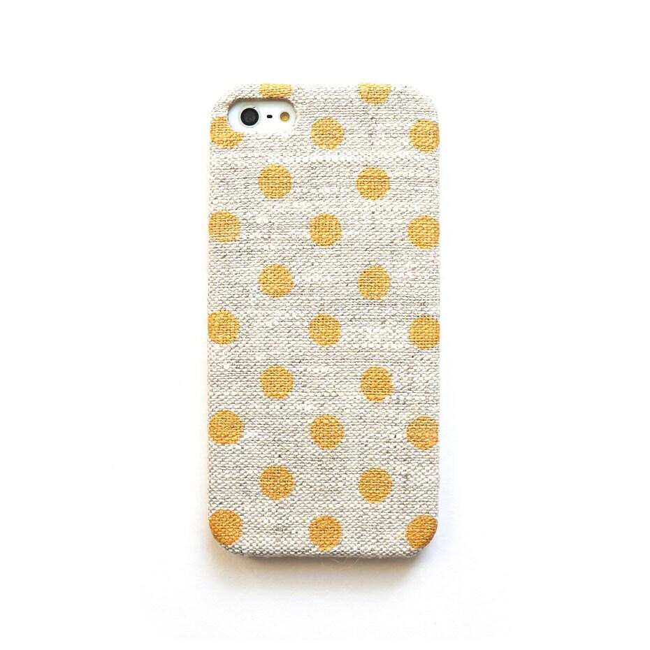 Gold dot iPhone case, iPhone 4s case, Linen iphone case, Natural iPhone case, Polka dot iPone case, Gold iPhone case - STARCREATUREstudio