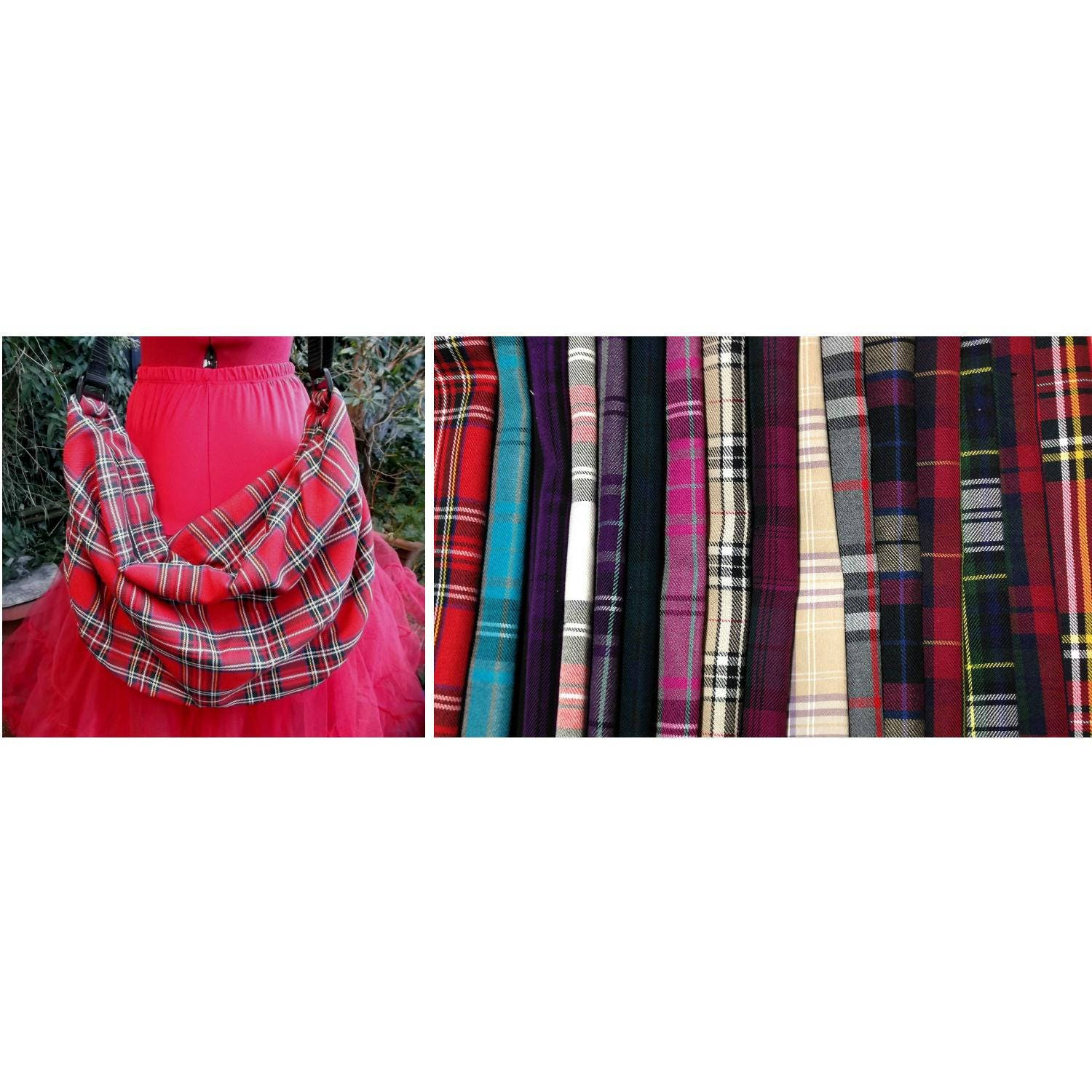 any tartan slouch bag with zip top and adjustable strap. red plaid hobo bag UK seller