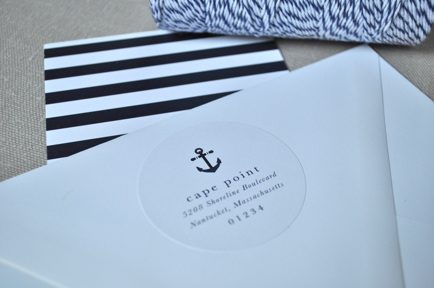 Anchor Collection Nautical Stationery Suite (note cards, envelopes & return address stickers)