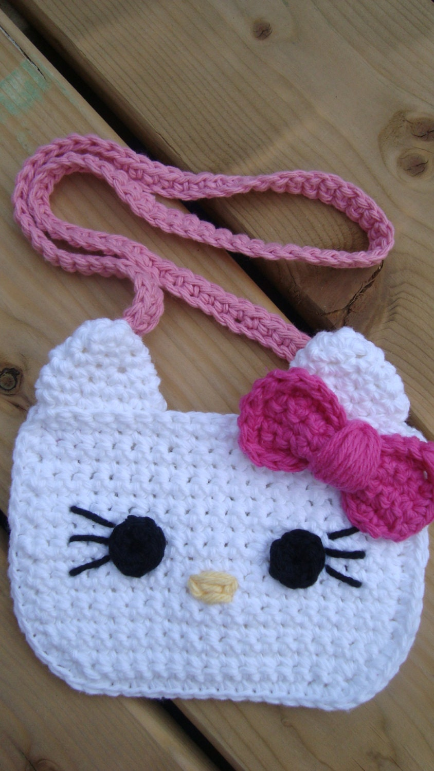 Crochet Purse Patterns Hello Kitty : Items similar to Crochet Hello Kitty purse on Etsy