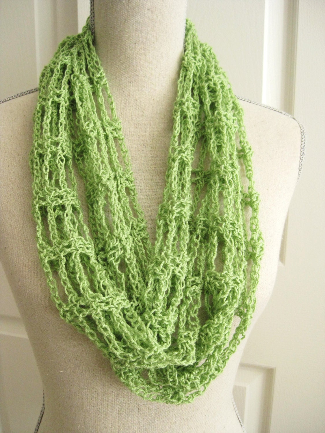 Lacy Cowl Scarf Crocheted-Spring Green by RoseJasmine on Etsy