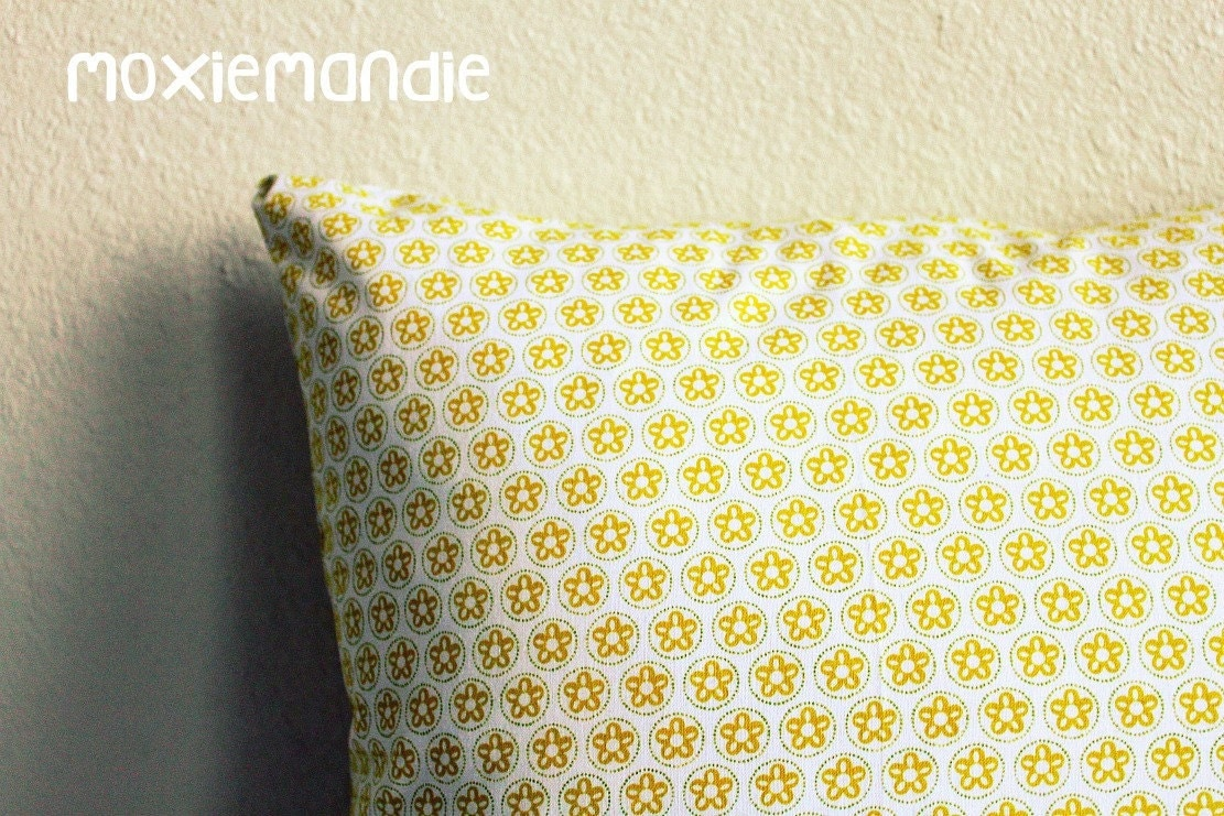 Golden Floral Pillow Cover