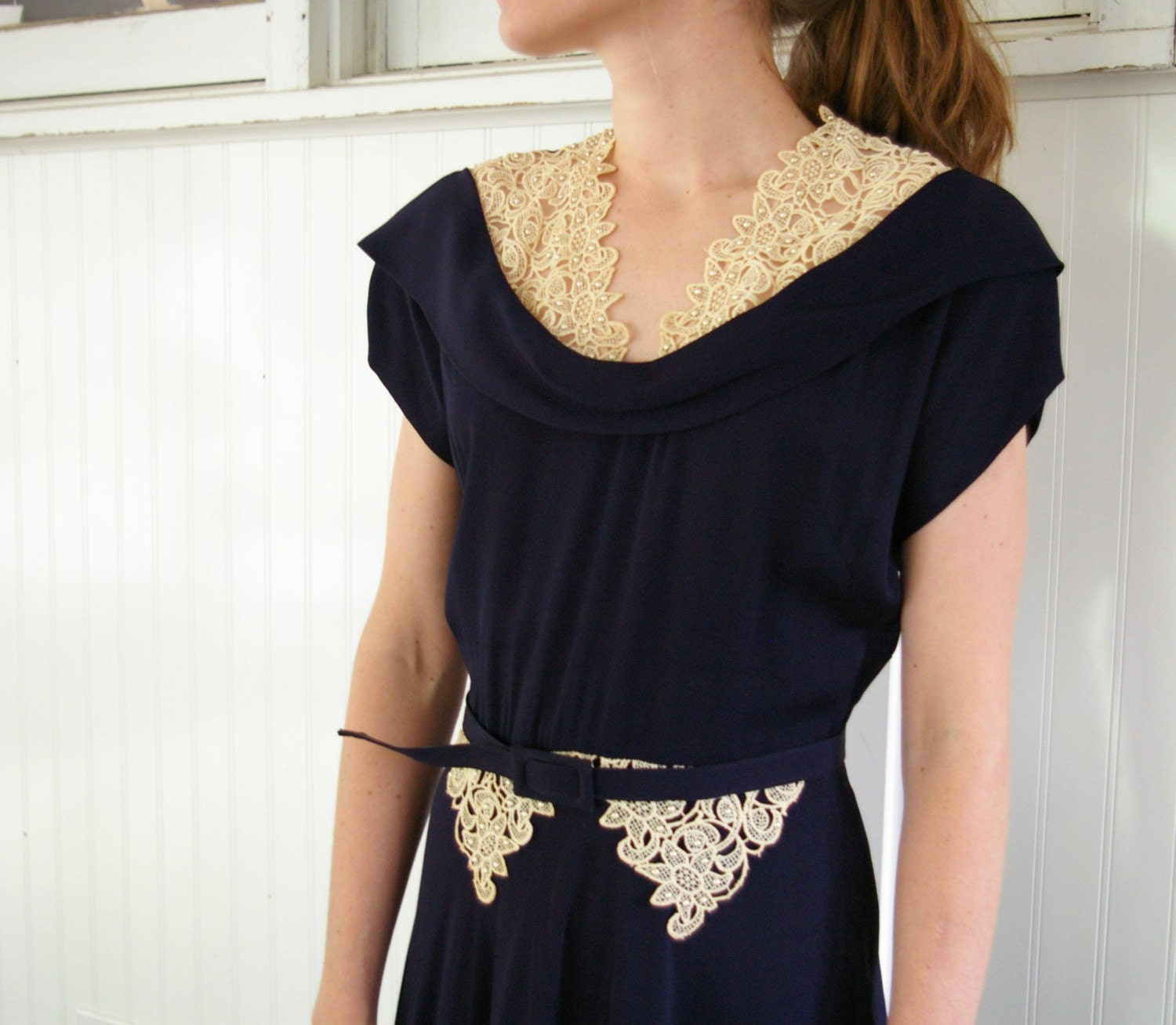 Vintage 40s Lace Trim Dress by MariesVintage from etsy.com