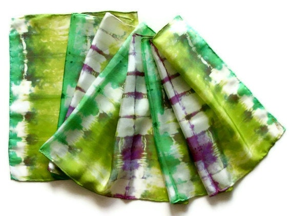Silk Scarf Dyed Apple Green Red Violet 14x72in - 35.56x182.88cm - SilkMari