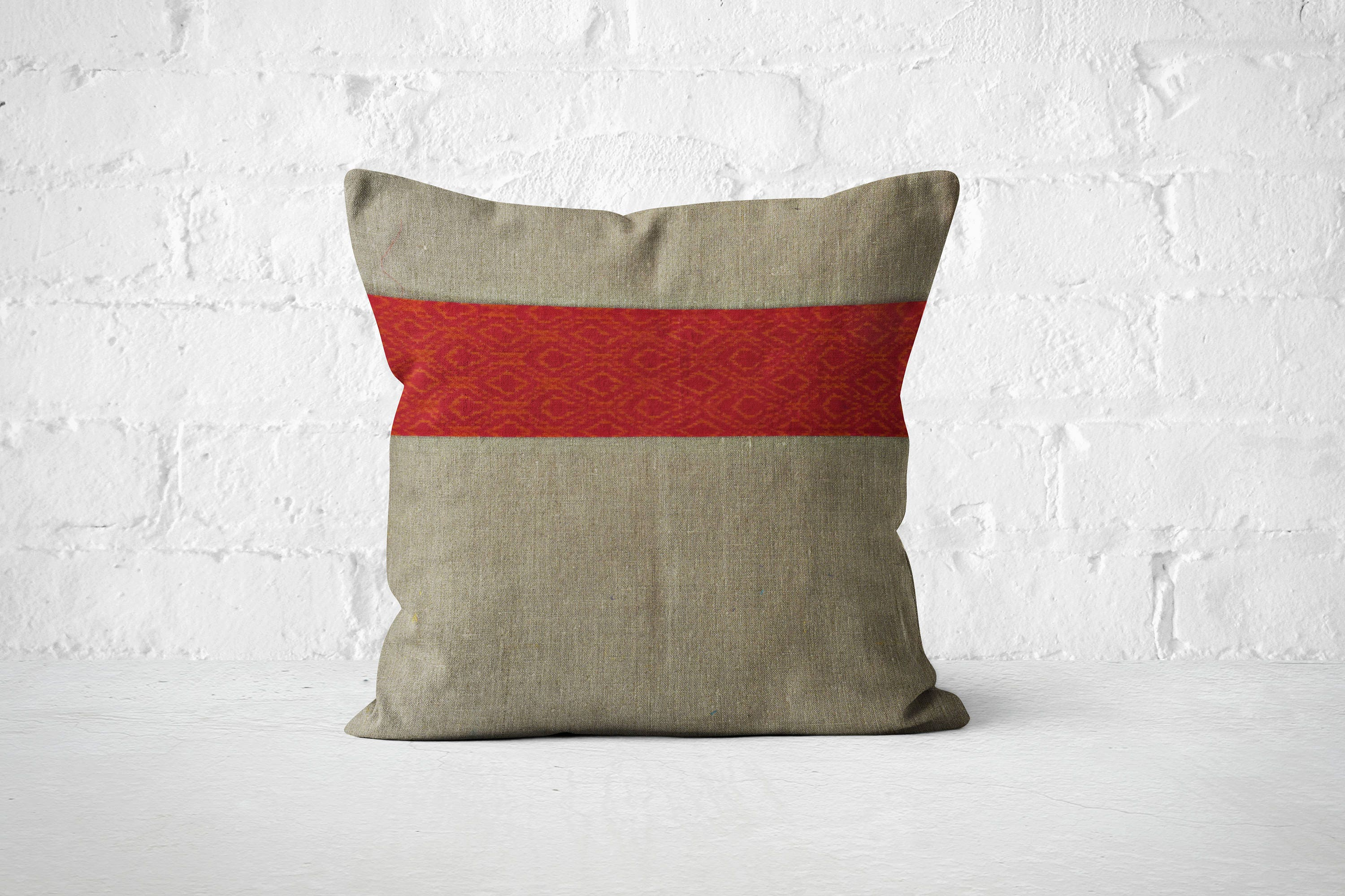 Linen Pillow Boho living room Hand woven accent pillow Unique cushion Trendy Pillow for couch  Bohemian room dcor Boho bedroom dcor