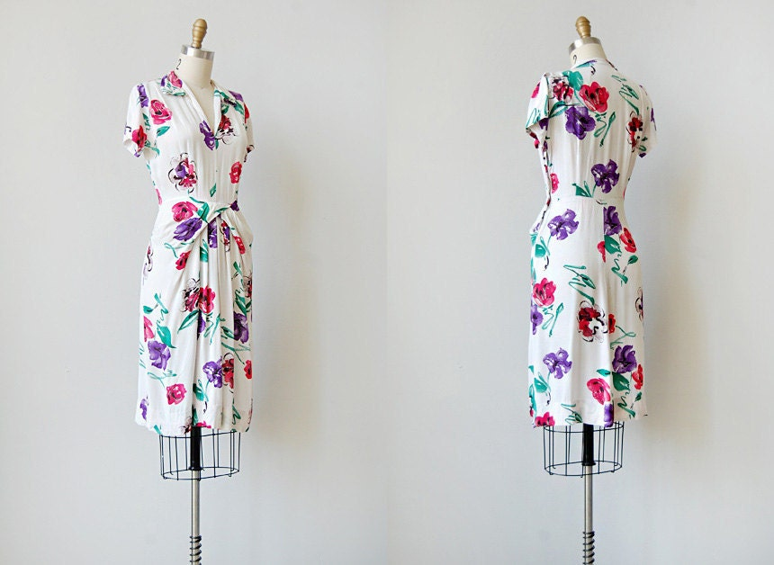 vintage 1940s vivid floral dress | CASSIS ET VIOLA DRESS