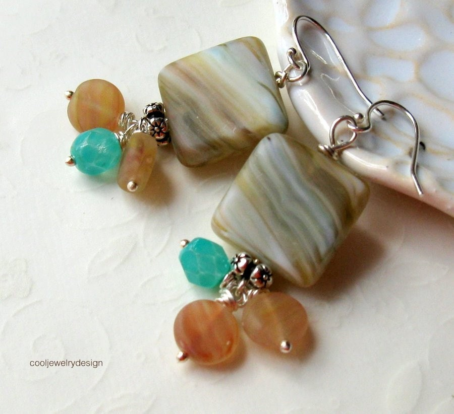 Desert Morn - sterling and neutral shades earrings