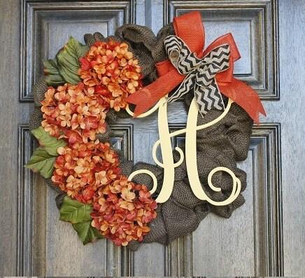 Burlap Wreath Fall Hydrangea By Theembellishedhome