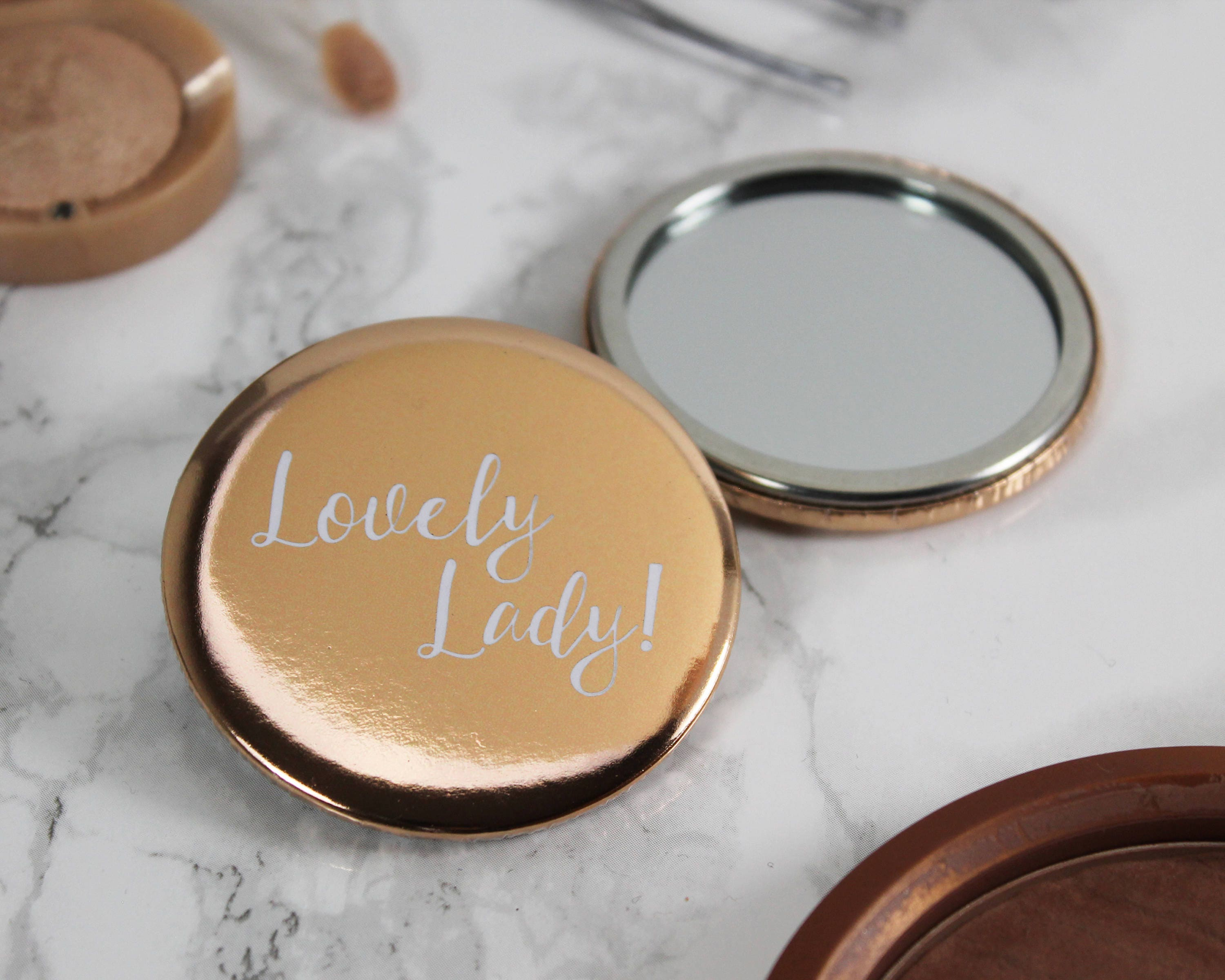 Rose Gold Lovely Lady Pocket Mirror  rose gold wedding favours  gift for her  token gift  thank you gift  handbag mirror