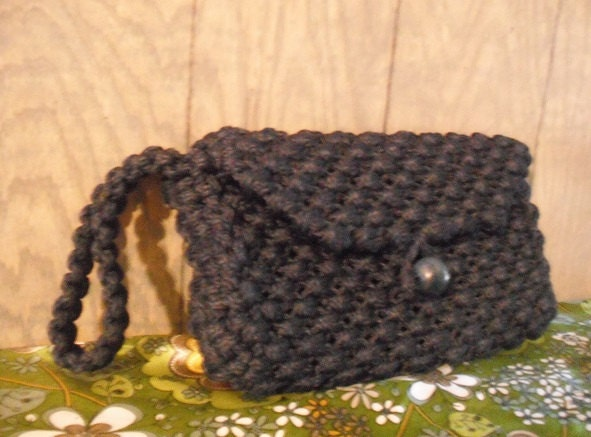 Teal Macrame Key Chain, Black and Teal Stylish Key Chain. vintage crochet clutch hand bag macrame Navy Blue wallet...