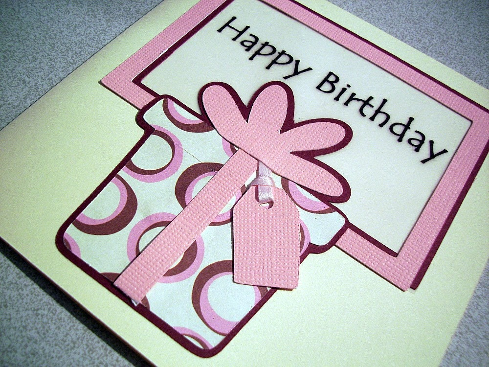 Handmade birthday card - pink birthday present greeting card by Sweet and Sassy Cards on Etsy