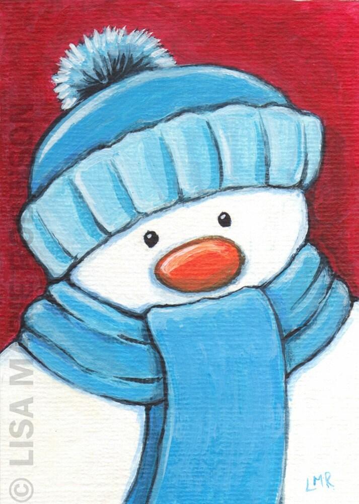 Original acrylic ACEO - Christmas Snowman - Xmas ART