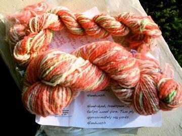 Spring Tulips handspun hand-dyed wool yarn
