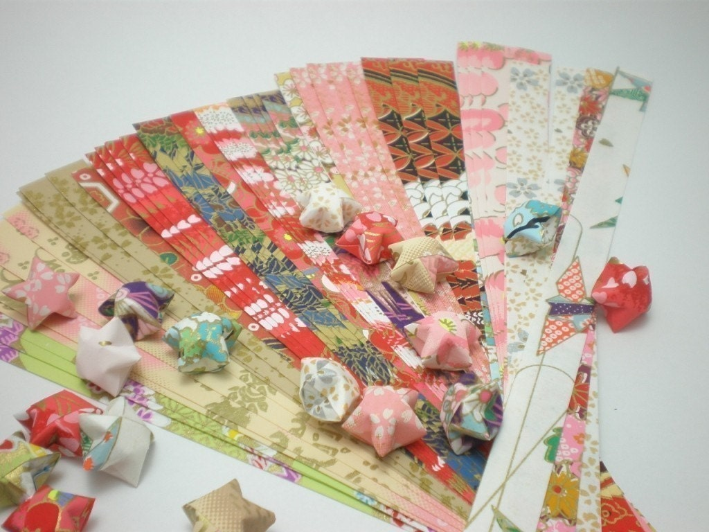 Origamipalace by 81Giftstation - Assorted Design Washi Chiyogami Origami Lucky Star Paper Strips - pack of 50 strips