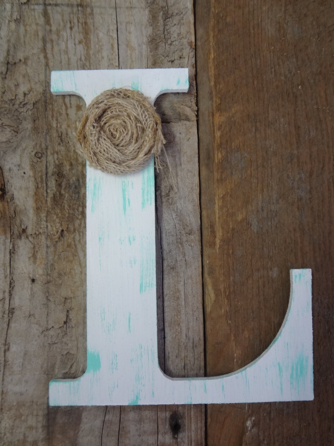 Personalize Custom Rustic Chic Wooden Letter L By
