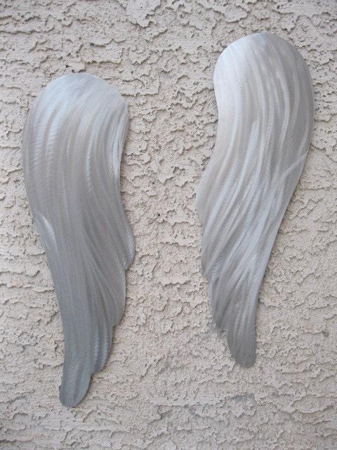 Metal Wall Art Angel Wings : Abstract modern metal wall art angel wings sculpture by