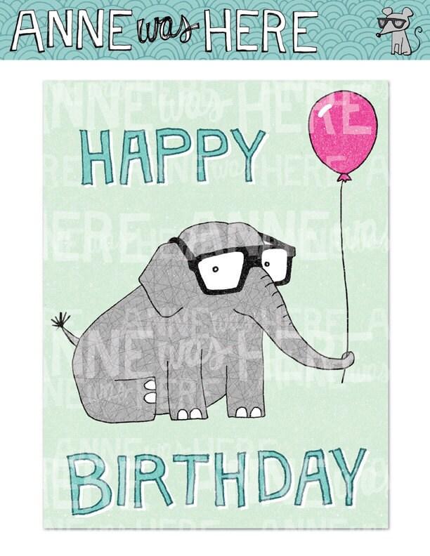 Items similar to Printable Card: Happy Birthday Elephant ...