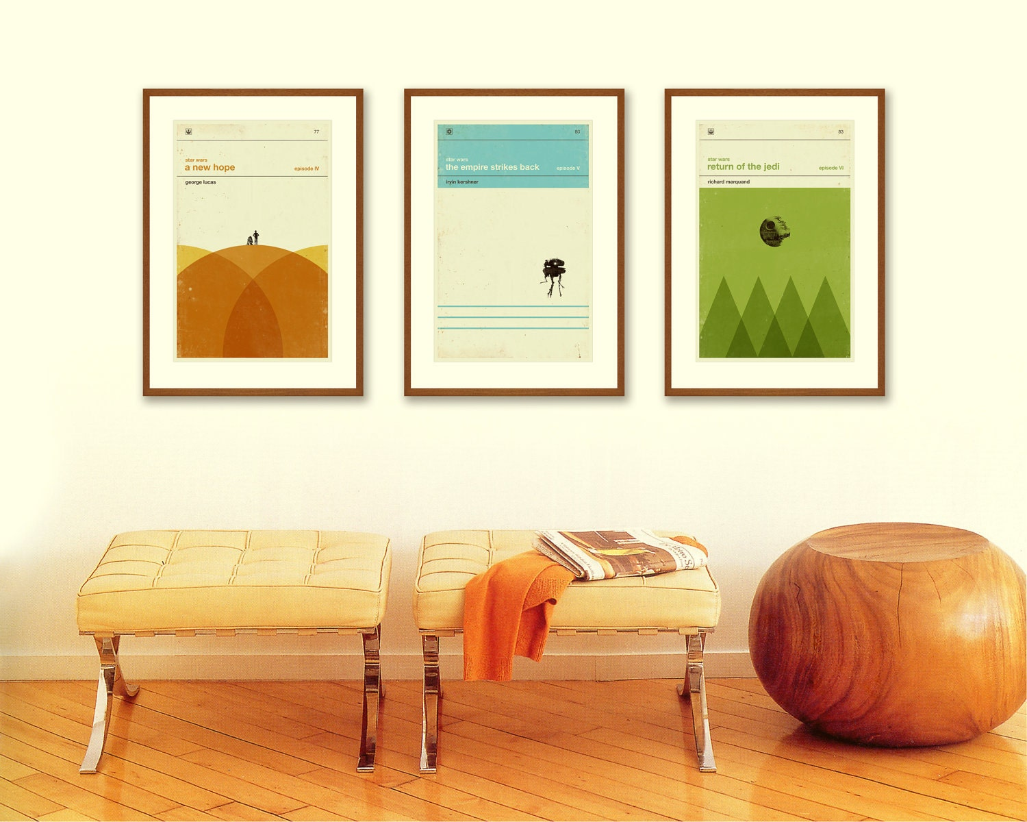 STAR WARS Inspired Art Print Movie Poster Series - 12 x 18 Minimalist, Nursery, Graphic, Mid Century Modern, Vintage Style, Retro Home