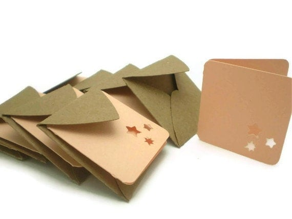 Mini Peach Notecards with Brown Envelopes, Set of 8