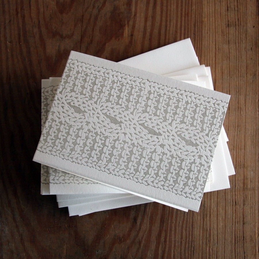 Cable Knit: Letterpress Folded Cards & Envelopes. Bulk Holiday Set (50ct)