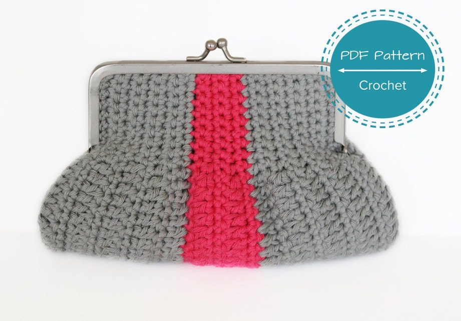 crochet clutch or small coin purse pdf pattern, tutorial, easy ...