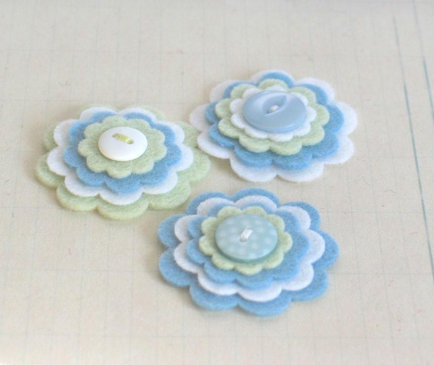 JOSH войлока Цветы - Набор из 3 ручной работы Мягкая зеленый, синий и белый войлок слоистых Цветы