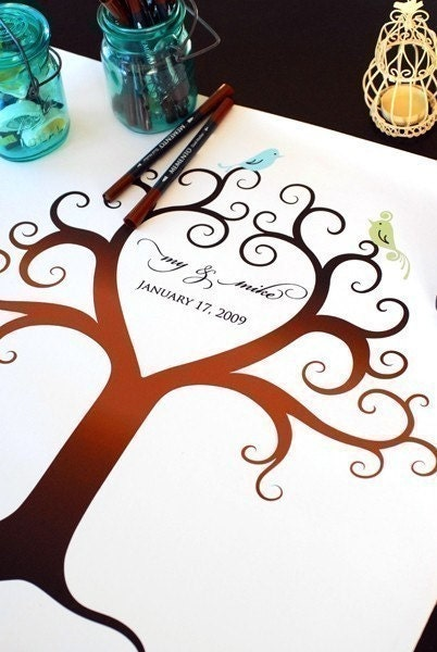 Wedding Guest Book (LARGE) Birds of a Feather Fingerprint Tree Canvas THE KIT (guestbook, ink pads, pens)