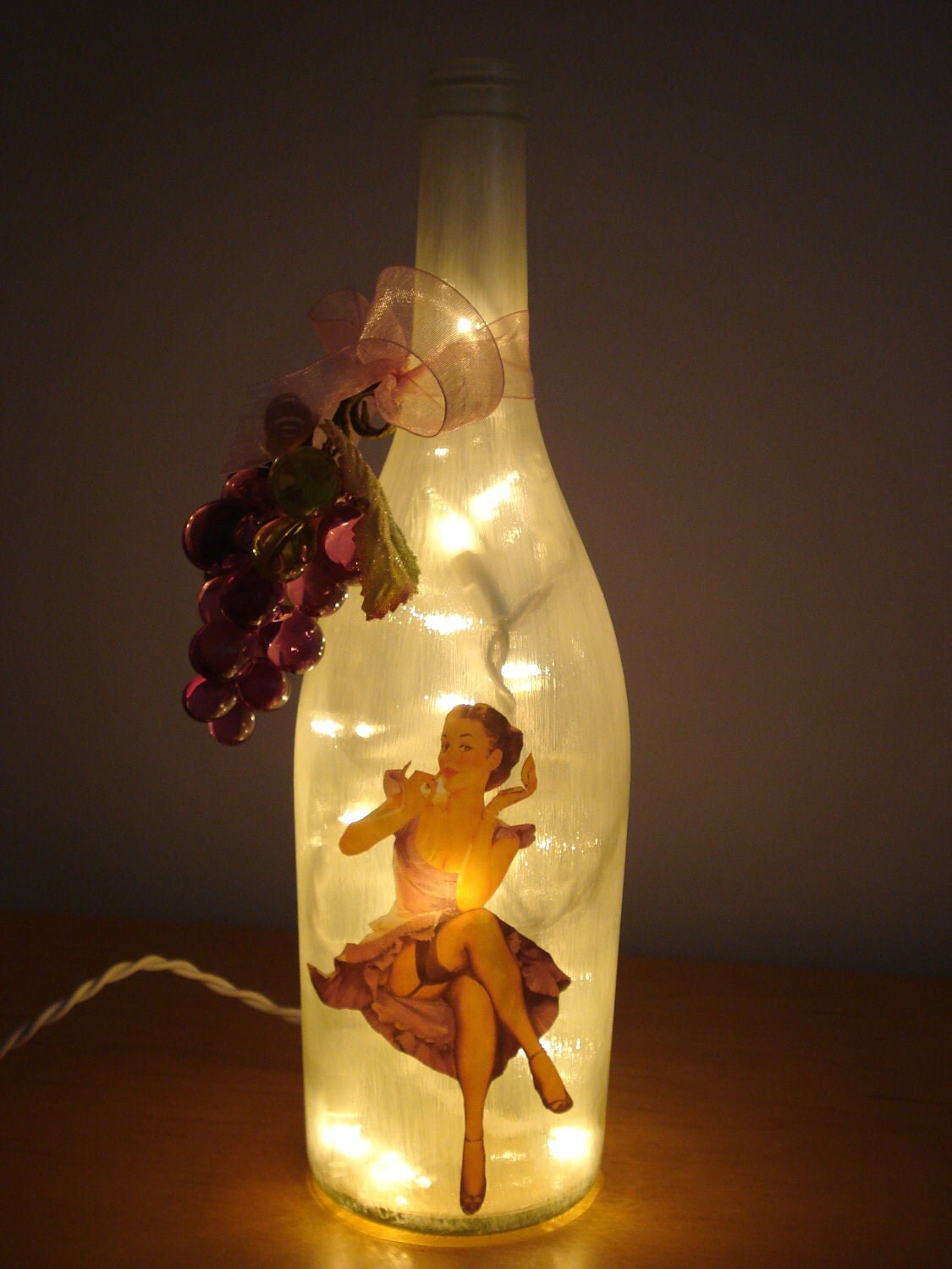 Sexy pin up girl wine bottle decor light by redone4fun on etsy for Light up wine bottles