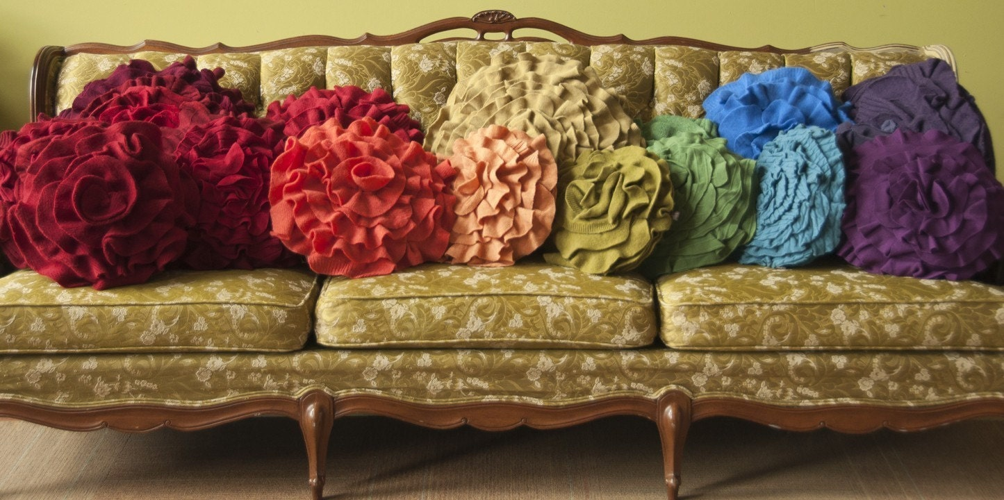 Custom made ruffle rose pillow LARGE - as seen on Daily Candy