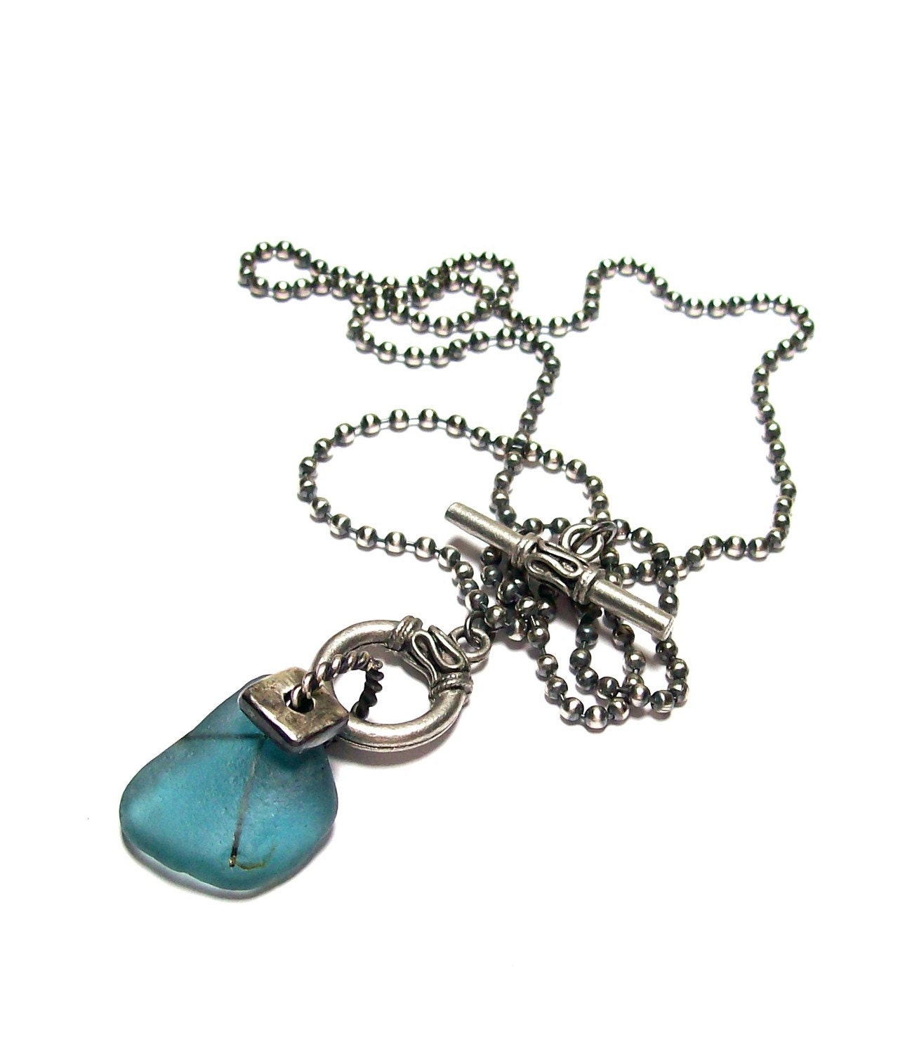 """Sea Glass Nautical Necklace - Genuine Pure Found - on Sterling Silver  """"Sailor Blues"""""""
