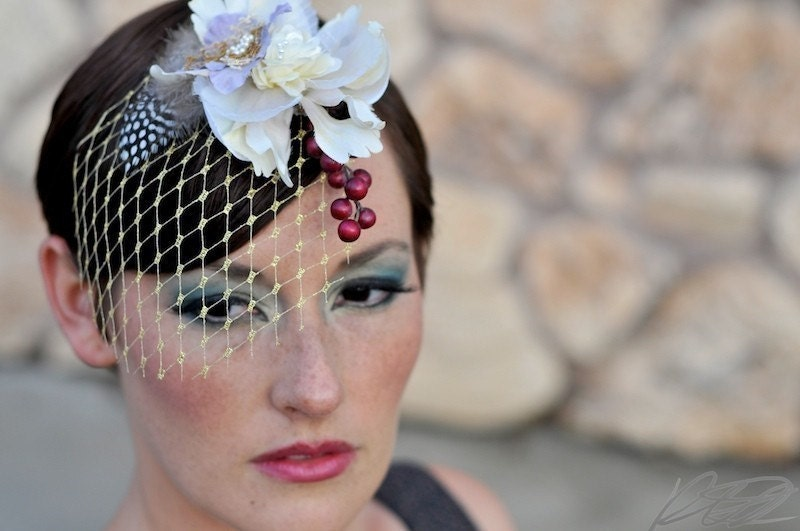 Etsy myrakim Mini birdcage veils feather and flower hair pieces