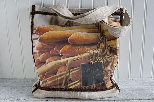 Food Photography Market Bag, Farmers Market Bag, Baguette photograph, Handmade Bag, Tote Bag, Beige Linen, Brown, Photo Bag, Everyday Bag - LostInTheValleyPhoto