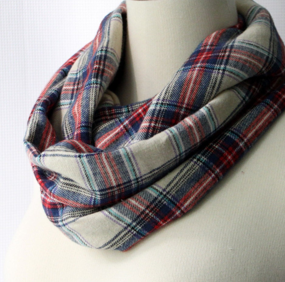 Infinity Scarf - Red Cream and Blue Plaid Flannel