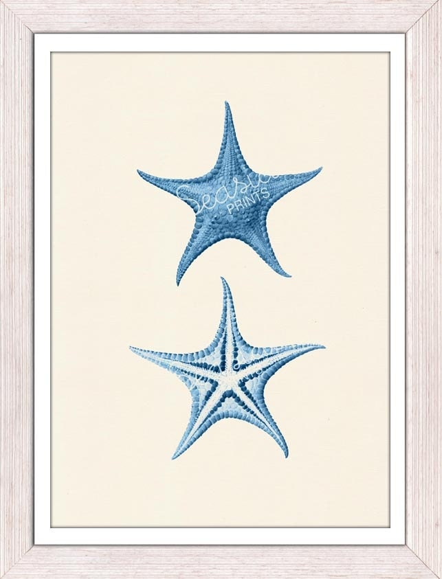 Blue Print Wall Decor : Print wall decor starfish in blue seaside by