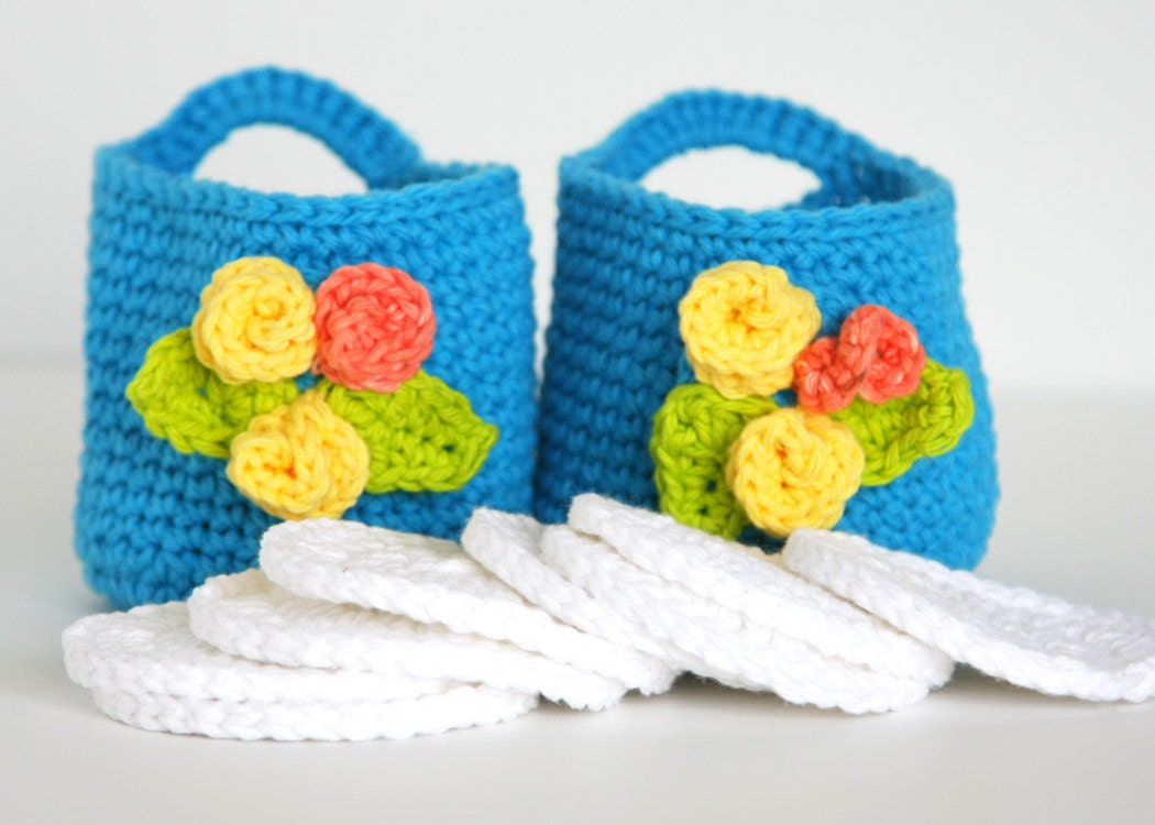 Crochet Bright Blue Double Baskets with Round Face Scrubbies home living, bath beauty, gift set - GetTangled