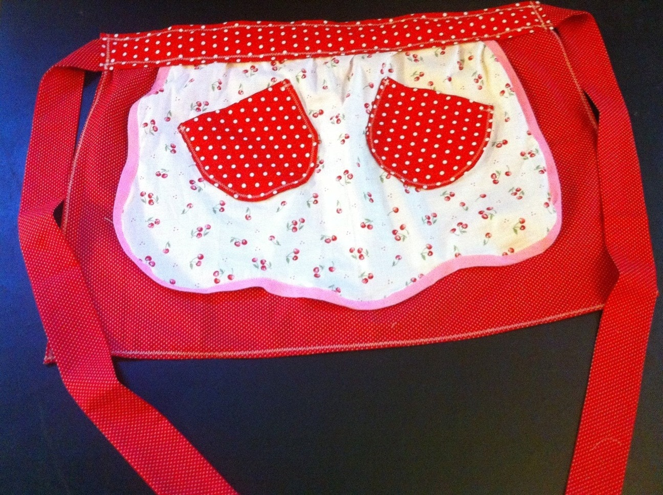 Cherry on red polka dot half apron vintage style