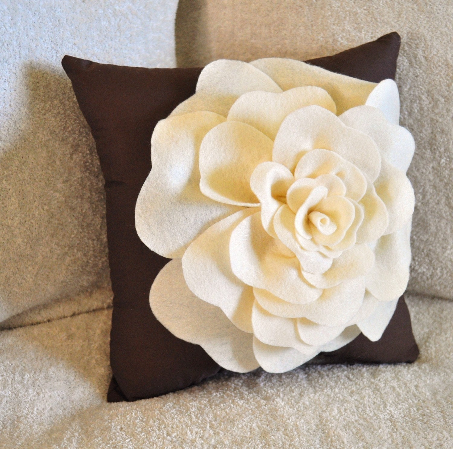 Antique White Rose on Brown Pillow