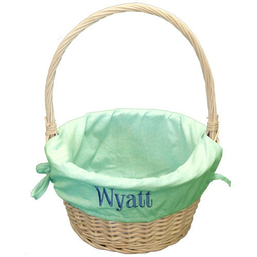 Monogrammed Green Chambray Easter Basket Large By